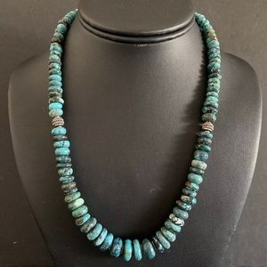 Jewelry - Sterling Silver Graduated Turquoise Bead Necklace.